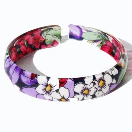 Purple Acrylic Floral Bangle