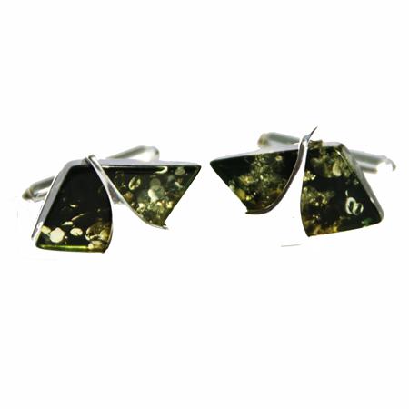 Green Amber Cufflinks 3109