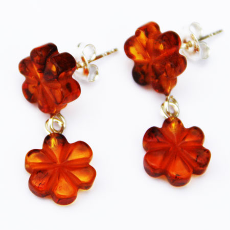 Amber Studs Two Flowers 3