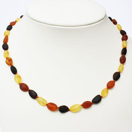 Unpolished Olive Amber Necklace
