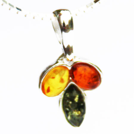 Amber Silver Mix Pendant 244