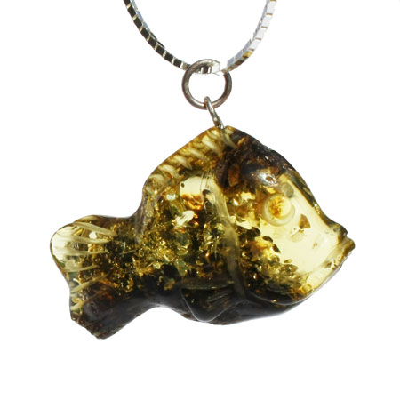 Green Amber Pendant – Fish
