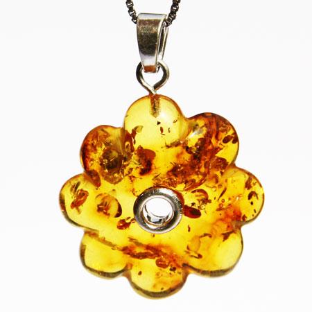 Cognac Amber Pendant Flower