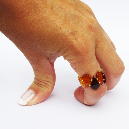 Amber Stretch Ring Triangles