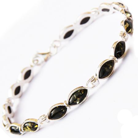 Amber Silver Green Bracelet 160
