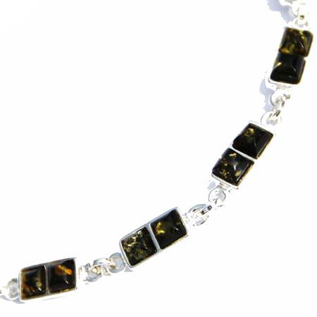 Amber Silver Green Bracelet Squares