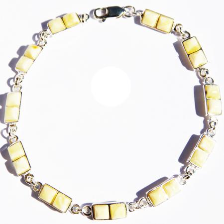 Amber Silver White Bracelet Squares