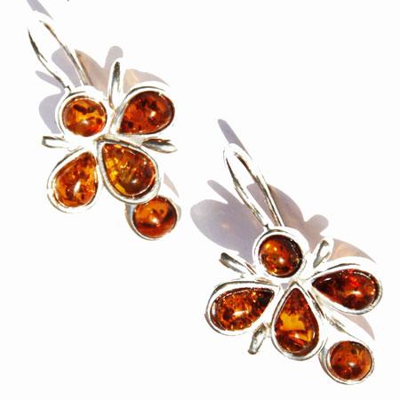 Honey Amber Silver Earrings 022