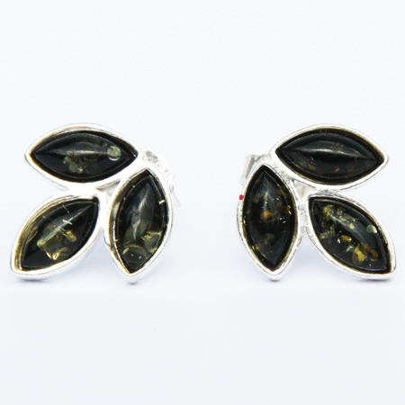 Amber Silver Green Studs 055