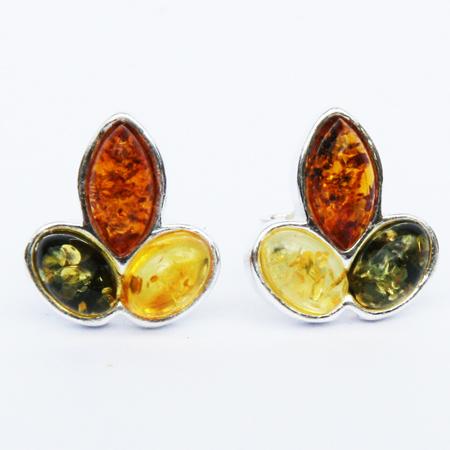 Amber Silver Mix Studs 5271