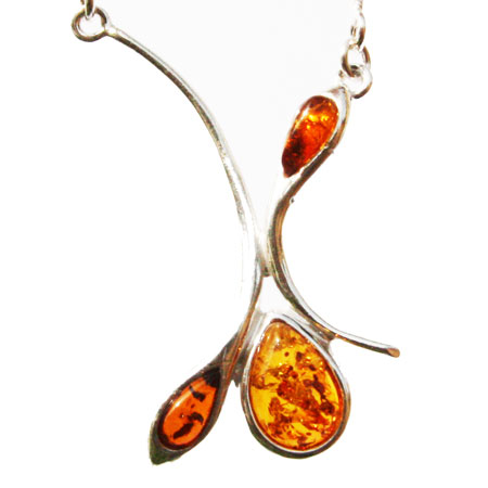 Amber Silver Honey Necklace 13