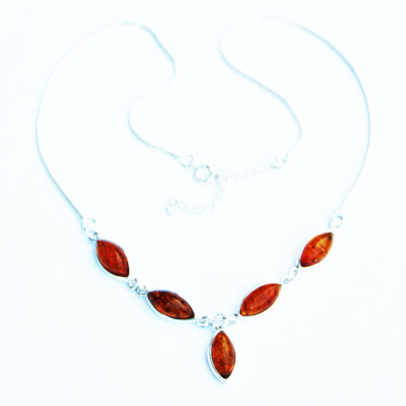 Amber Silver Honey Necklace 6163