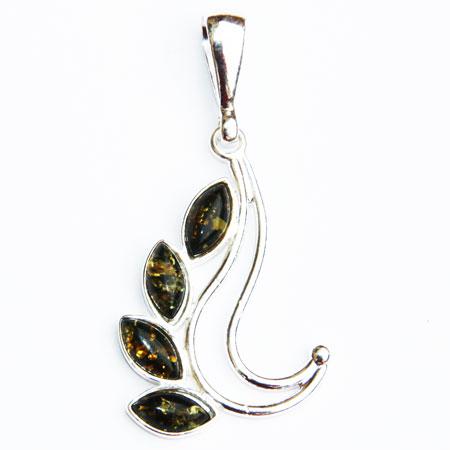 Green Amber Silver Pendant 090