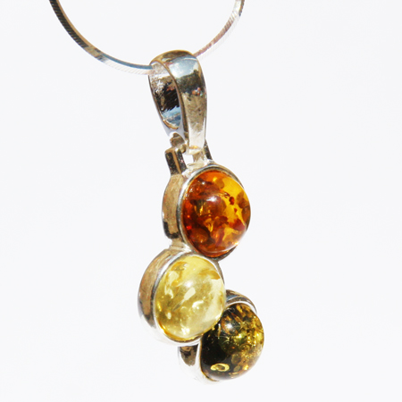 Amber Silver Mix Pendant 233