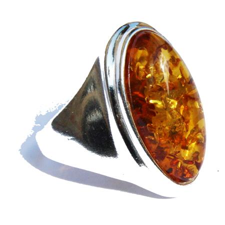 Amber Silver Honey Ring 61