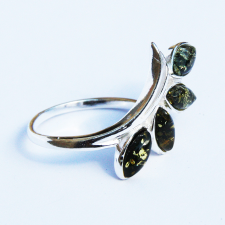 Amber Silver Green Ring 290
