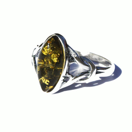 Amber Silver Green Ring 4026