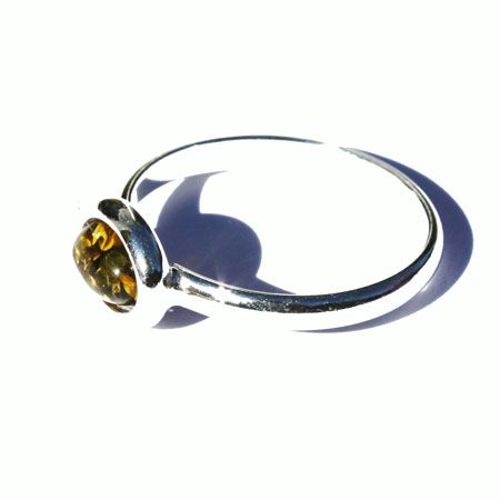 Amber Silver Green Ring 7508