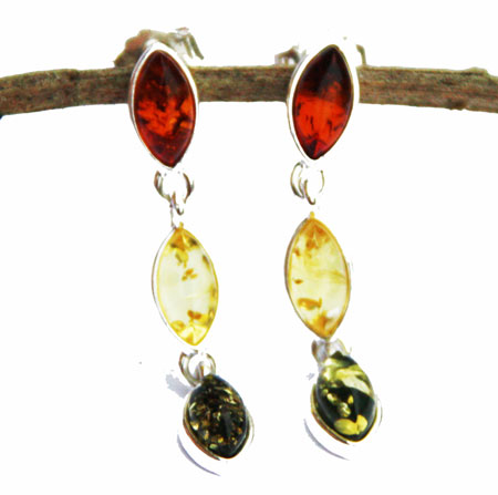 Mixed Amber Dangly Studs
