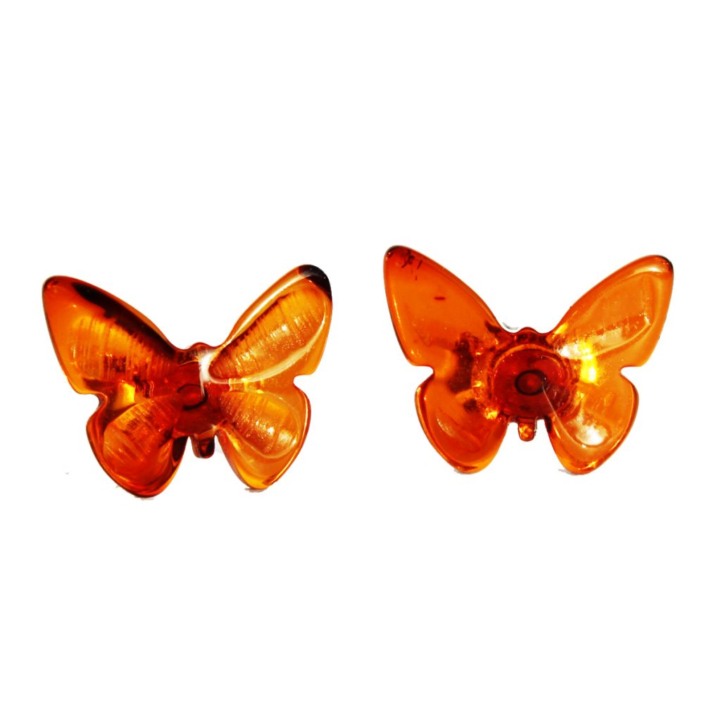 Honey Amber Butterfly Studs