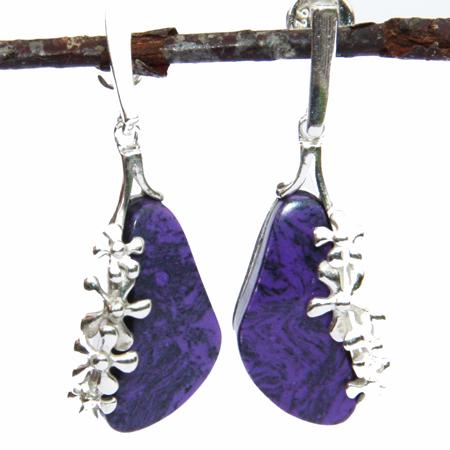 Purple Charoite Flower Earrings