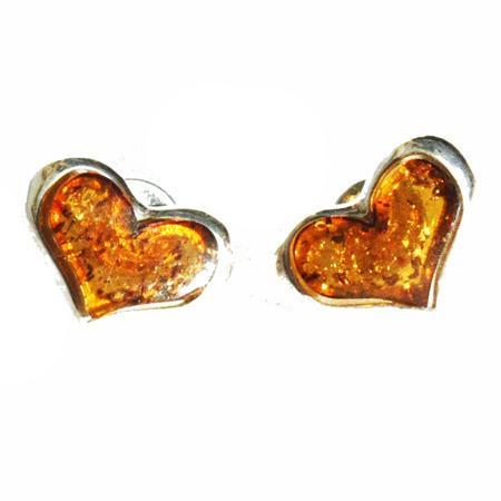 Honey Amber Studs – Hearts