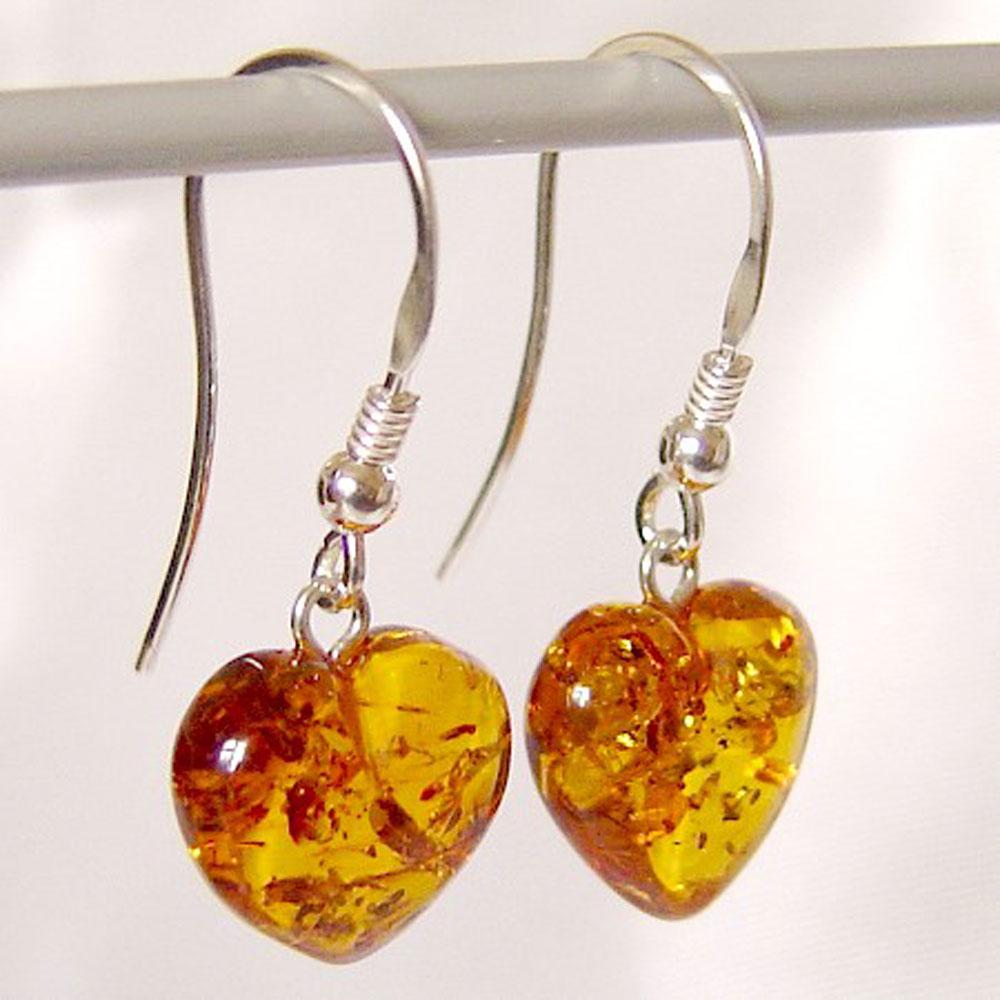 Medium Amber Earrings Hearts