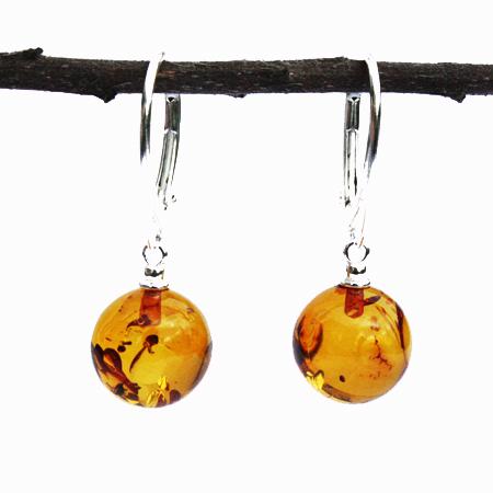 Amber Earrings Honey Balls