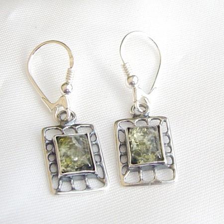 Green Amber Earrings 161