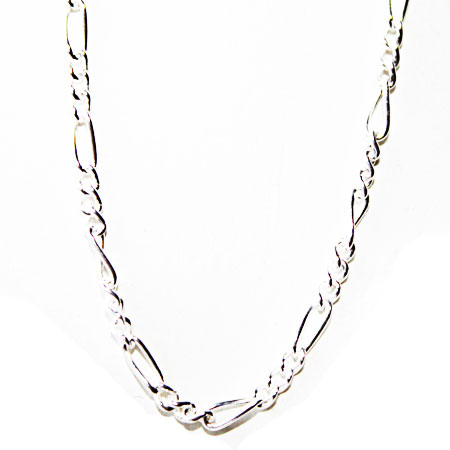 Sterling Silver Figaro Chain 24 inch.