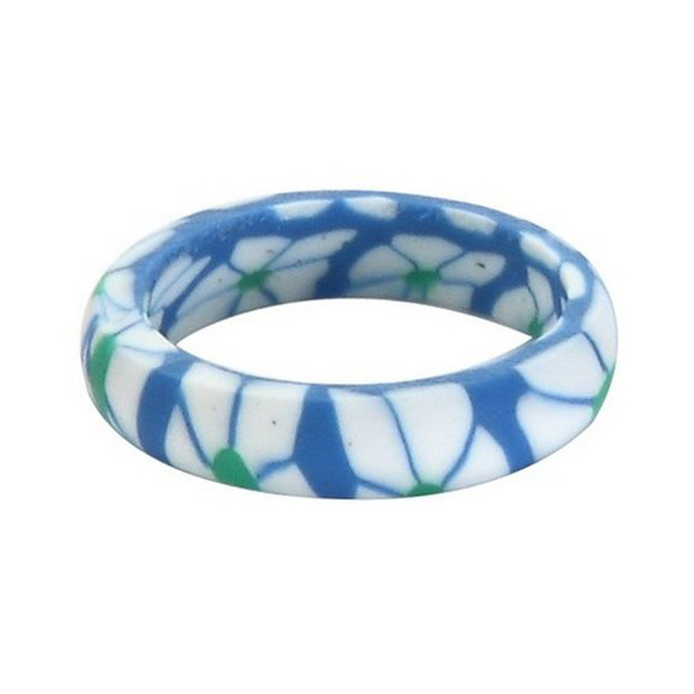 Blue Floral Fimo Ring1