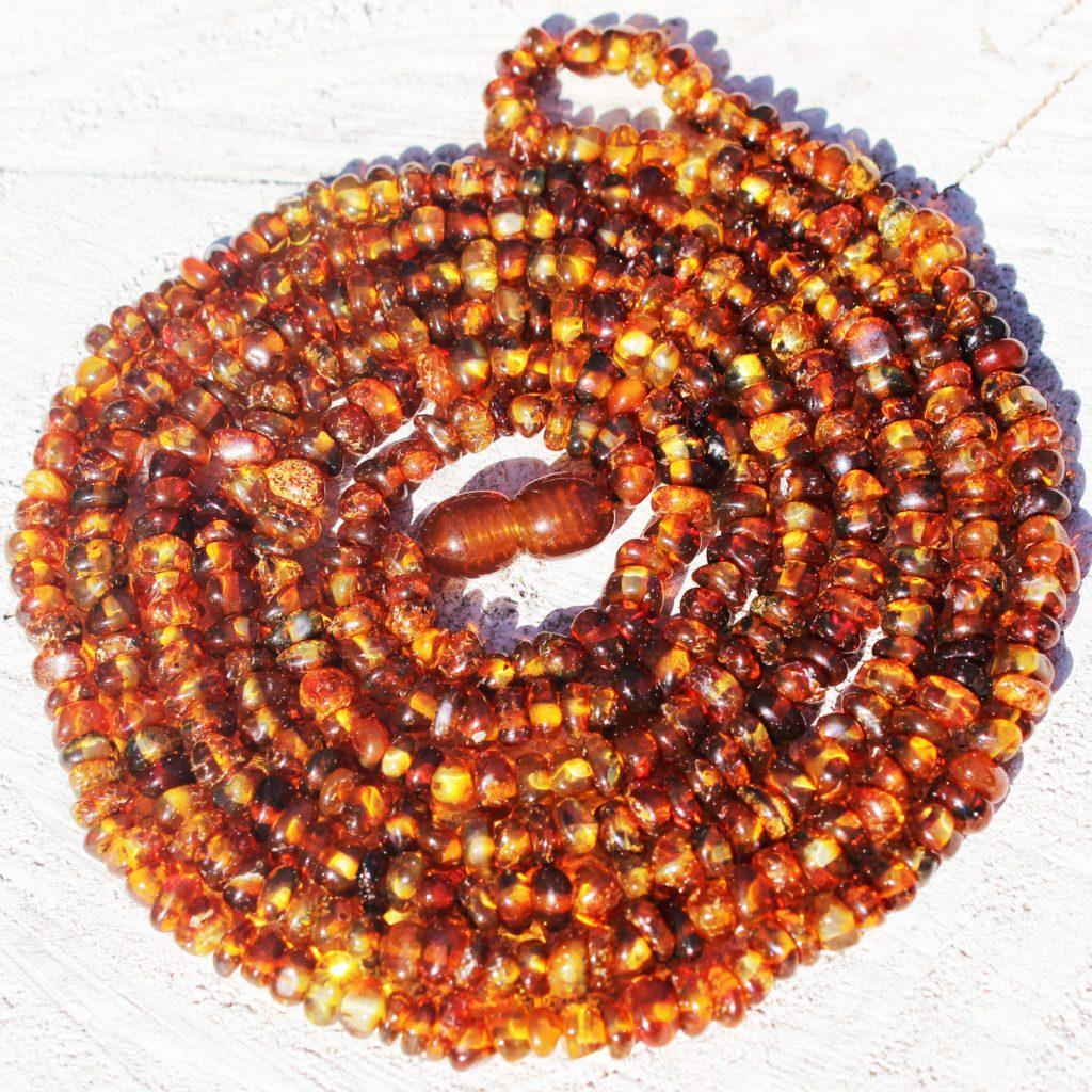Long Roundish Honey Amber Necklace