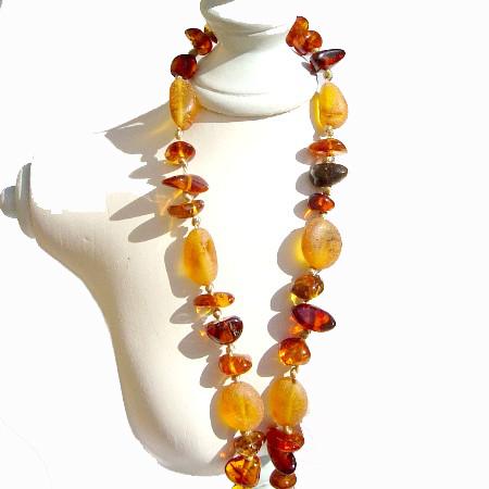 Cognac Mix Amber Necklace
