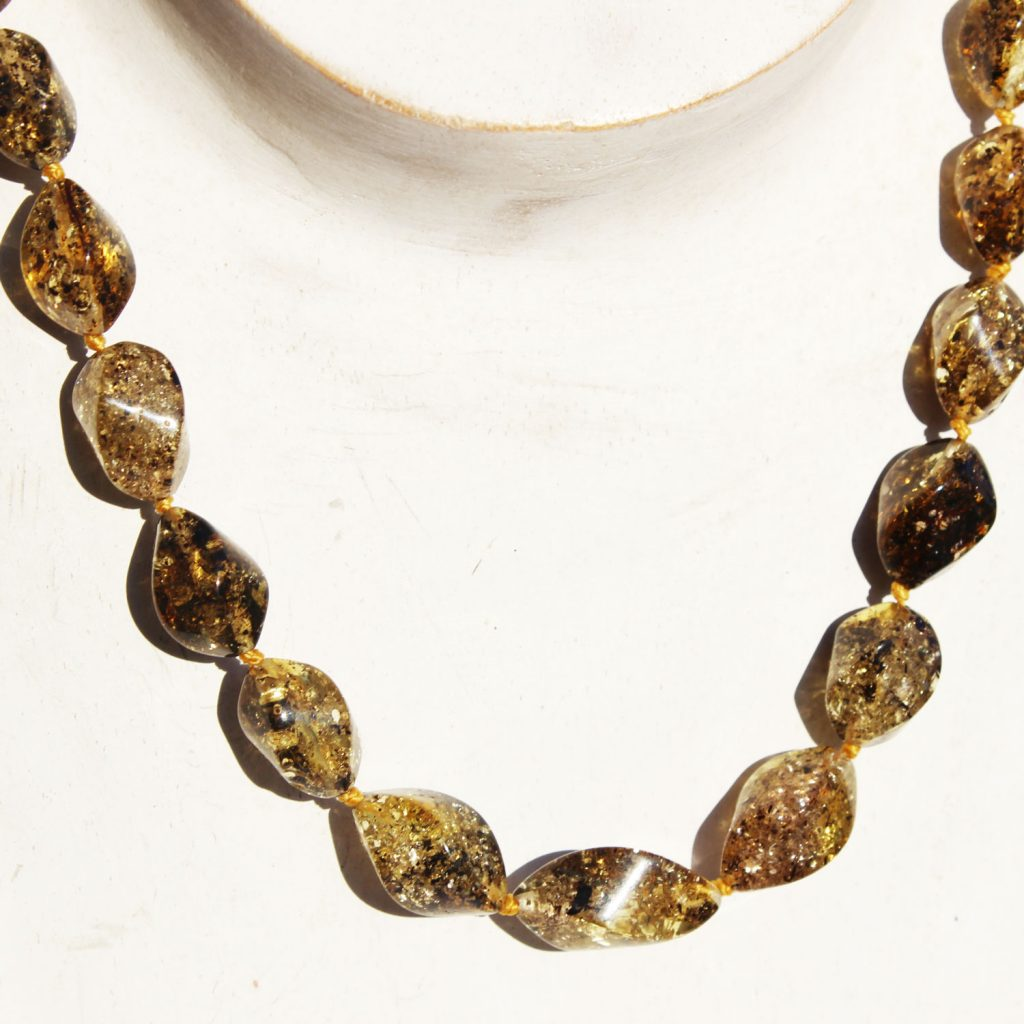 Green Amber Necklace Twists