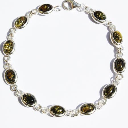 Amber Silver Green Bracelet Ovals
