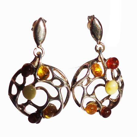Honey-White Amber Earrings 9050