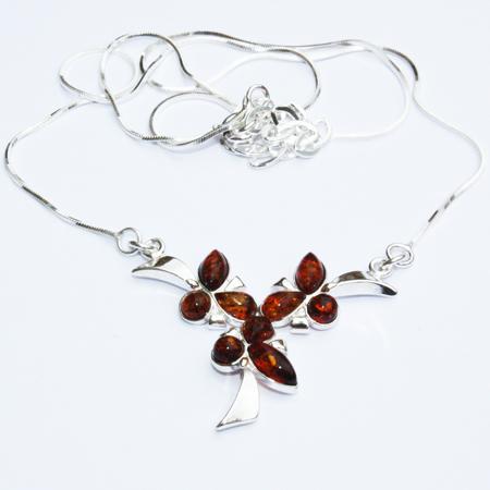 Amber-Silver Cognac Necklace-016