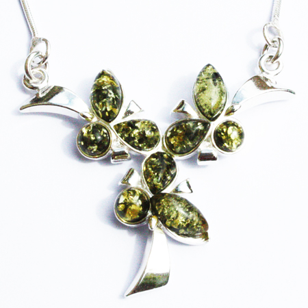 Amber-Silver Green Necklace-016