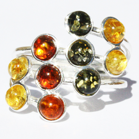 Amber Silver Mix Ring 66