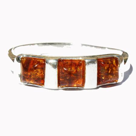Amber Silver Honey Ring 121