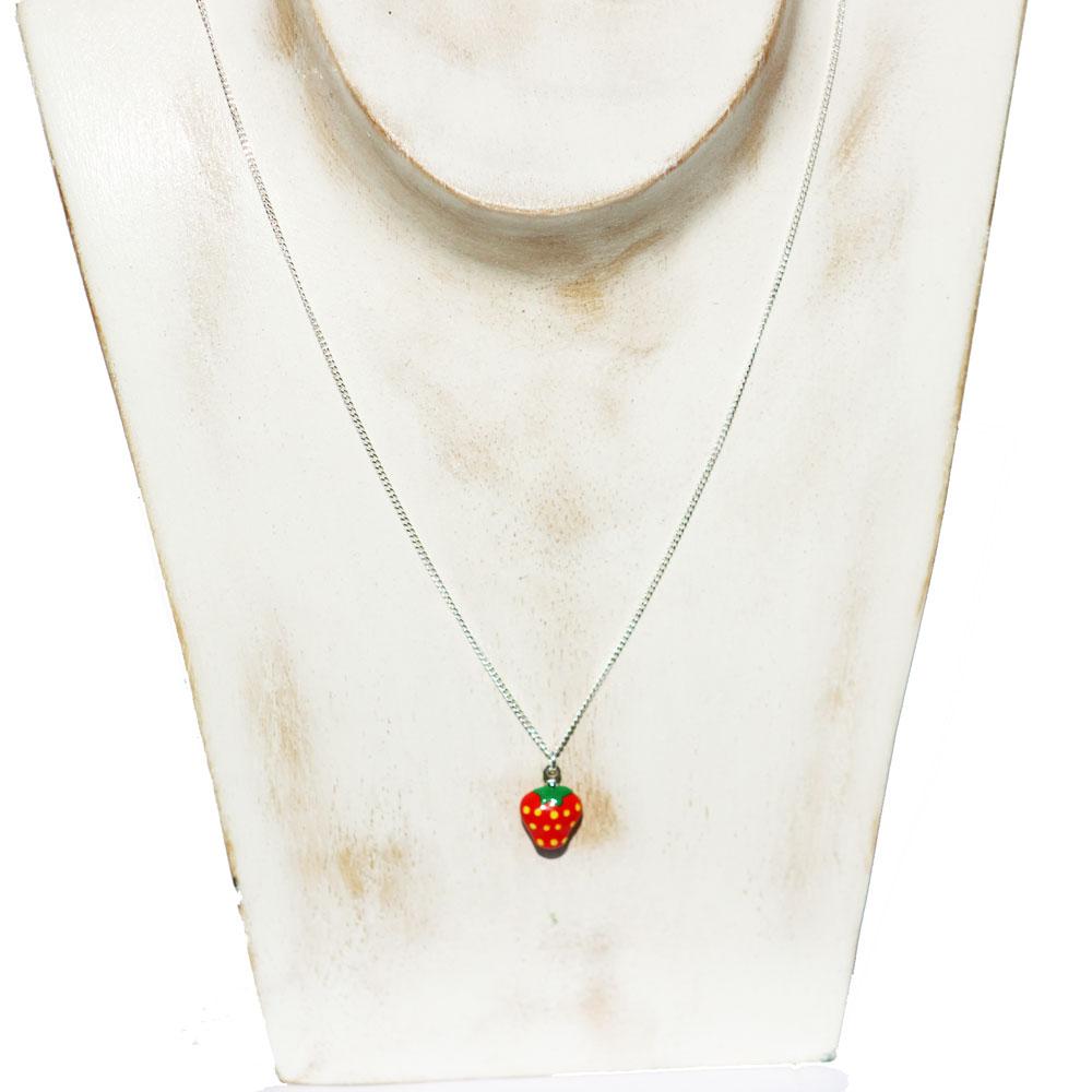 Silver Strawberry Charm