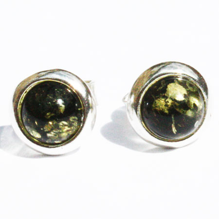 Amber Silver Green Studs 34