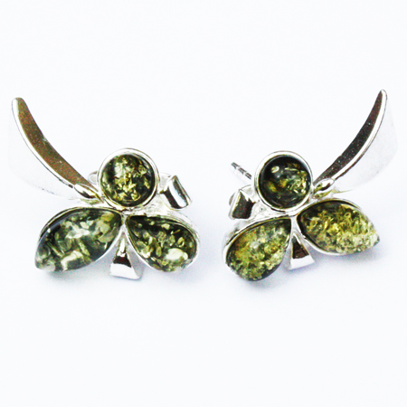 Amber Silver Green Studs 148