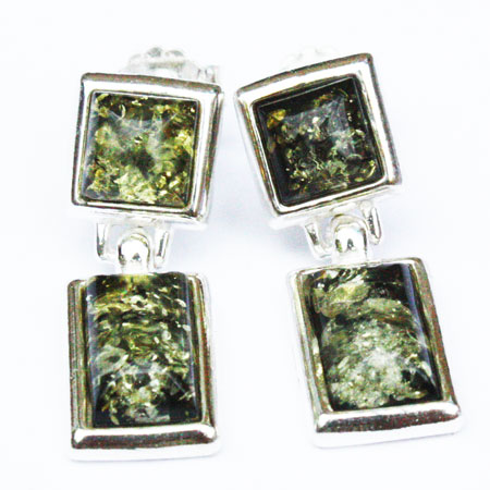 Amber Silver Green Studs 170