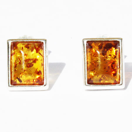 Amber Silver Honey Studs 192