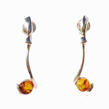 Honey Amber Silver Studs 2077